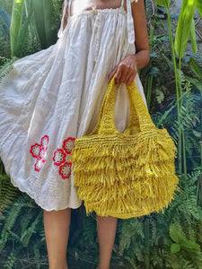 Handwoven raffia bag by artisans in Bali comes with fabric lining, great for shopper beach bag, wide bottom and handles so you can easily carry handbag