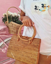 Beautifully rattan box cross body bag large and roomy, great for the beach, books or everyday tote, handcrafted by Balinese artists, will make you smile
