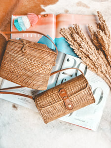 Wicker Canggu Rattan Bag Boho Shoulder Basket Purse