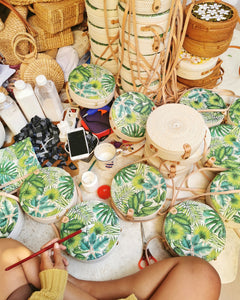 Authentic Round Rattan Bag Tropical Leaves Decoupage