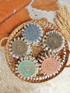 Rattan Coasters With Cowrie shells Set of 4
