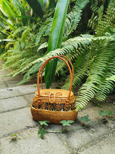 Butterfly Rattan Bag Street level Bali Bag With Handle Straw Bag Handwoven By local Balinese villages with handle bag Hippie Summer Beach Purse