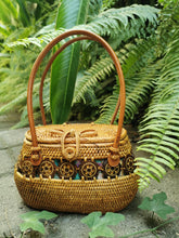 brown Fashion Round Straw Bag Handbags Women Handmade Retro Woven Rattan Bag Beach White Black Vintage For Women Bags
