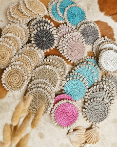 Raffia Natural Shell Coaster Set