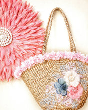 Beach bag made from natural Water Hyacinth Handmade in Thailand with  Tassel and flowers woven personalised soft bucket with tassels monogram also round Bali bags in stock with free shipping designer