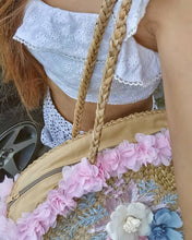 water hyacinth beach Outfit with natural straw handbag Prada DIY Reusable and great rattan grocery bag Street Style Colorful flowers hand weaved  Big Crossbody Vintage water hyacinth tote beach summer bag Fashion Pom Pom Embroidered flowers on water hyacinth shoulder bag
