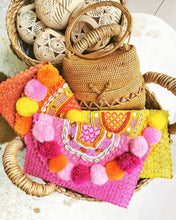 pompom beach bag in clutch style women white pink blue with strap pom pom purses DIY Handbags Rattan Cross Body with Fringes