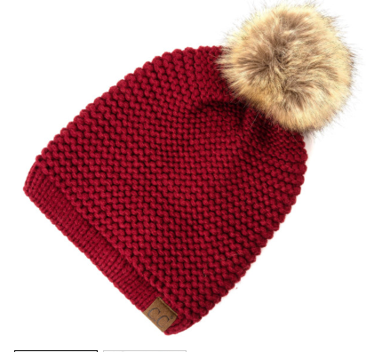 CC Adjustable Beanie with faux fur pom