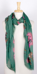 Floral Print Scarf with metallic detail