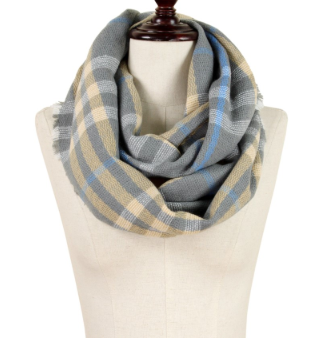 Grey knit plaid infinity scarf