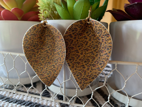 Glitter brown leaf earrings
