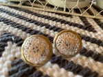 Gold patterned stud earrings