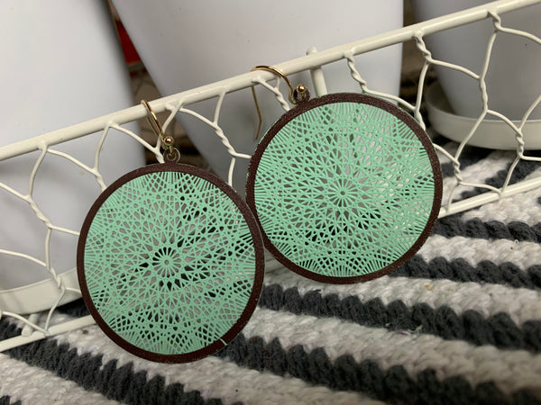 Mint filigree disc earrings
