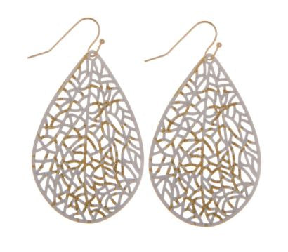 White filigree earrings