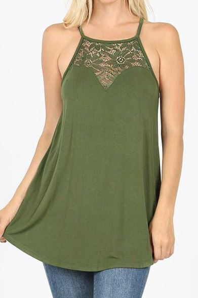 Lace Paneled Halter