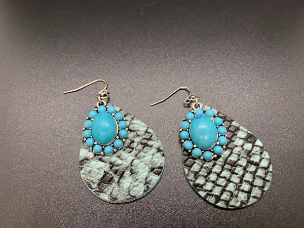 Turquoise & Faux Snakeskin Earrings
