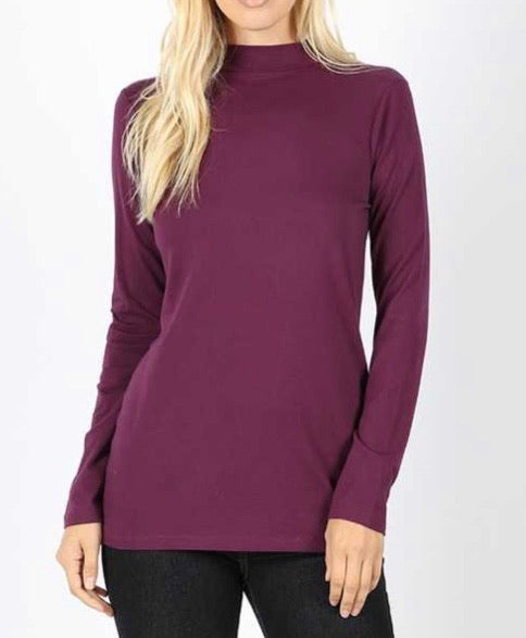 Eggplant Mock Neck Top