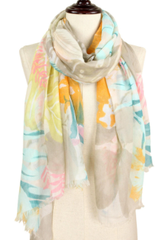 Orange tropical print scarf