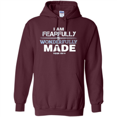 Christian T-shirt I Am Fearfully And Wonderfully Made Pullover Hoodie 8 oz - WackyTee