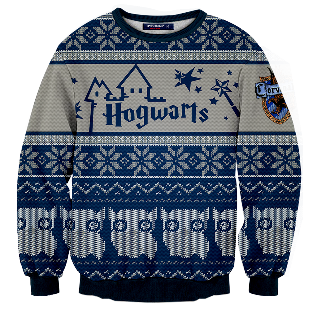 36abc4fe6 Ravenclaw Harry Potter Ugly Christmas 3D Sweater Fullprinted 3D Sweater -  WackyTee