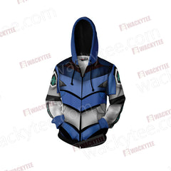 Shin Seiki Evangelion EVA 00 Cosplay Zip Up Hoodie Jacket Fullprinted Zip Up Hoodie - WackyTee