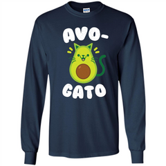 Avogato - Avocado Cat - Funny Avocado T-shirt LS Ultra Cotton Tshirt - WackyTee
