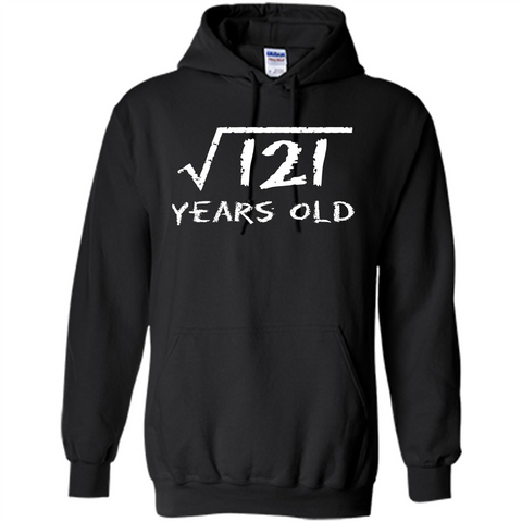 Square Root Of 121 T-shirt 11Th Birthday 11 Years Old T-Shirt Black / S Pullover Hoodie 8 oz - WackyTee
