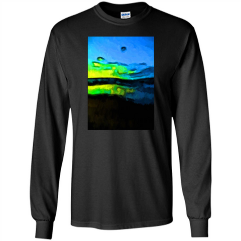 Yellow Dance Of The Tropical Blue Sea And Green Sky T-shirt Black / S LS Ultra Cotton Tshirt - WackyTee