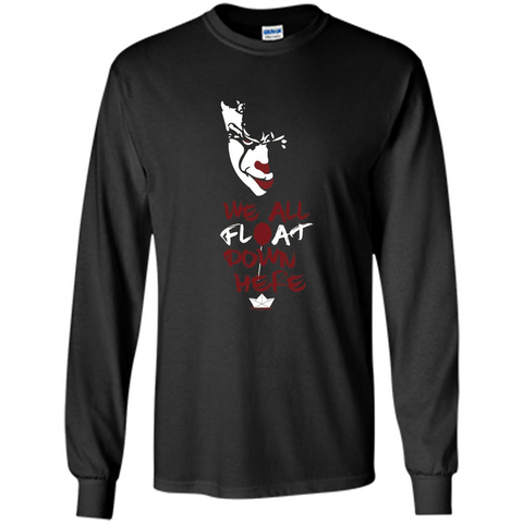 Scary Halloween T-shirt We All Float Down Here Black / S LS Ultra Cotton Tshirt - WackyTee