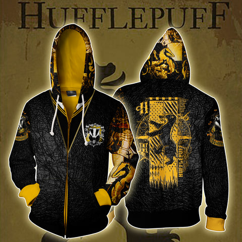Hufflepuff (Harry Potter) 3D Zip Up Hoodie US/EU XXS (ASIAN S) Fullprinted Zip Up Hoodie - WackyTee