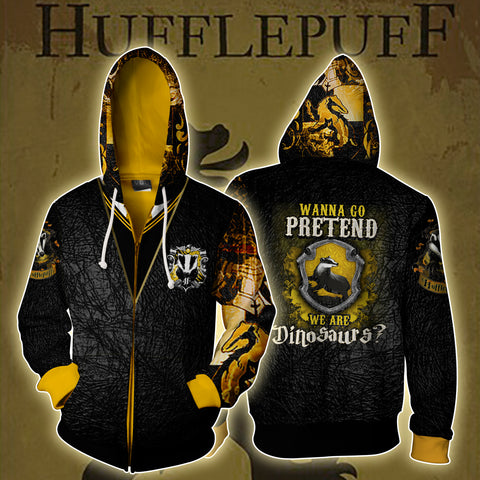 Hufflepuff Harry Potter Zip Up Hoodie US/EU XXS (ASIAN S) Fullprinted Zip Up Hoodie - WackyTee