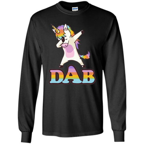 Cute Unicorn Dabbing T-shirt Black / S LS Ultra Cotton Tshirt - WackyTee