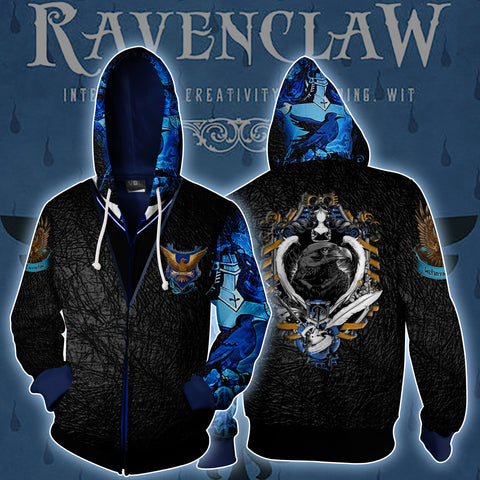 Ravenclaw Harry Potter Zip Up Hoodie US/EU XXS (ASIAN S) Fullprinted Zip Up Hoodie - WackyTee