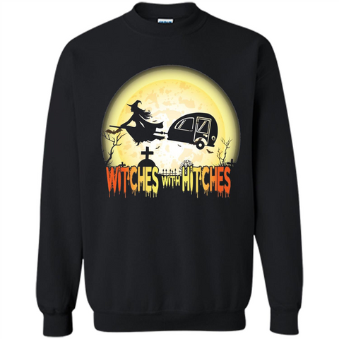 4c3b4f26 Witches With Hitches Camping Funny T-shirt Halloween T-shirt Black / S  Printed