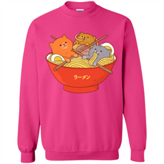Ramen Noodles And Cats T-shirt Printed Crewneck Pullover Sweatshirt 8 oz - WackyTee