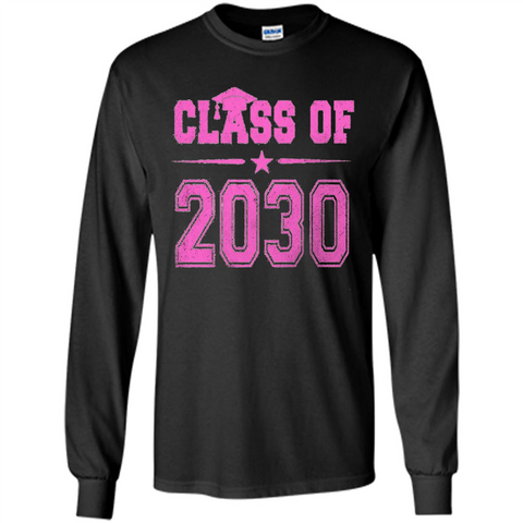 Class of 2030 Pink Girls T-shirt Black / S LS Ultra Cotton Tshirt - WackyTee