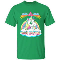 Unicorn Hail Satan Death Metal Rainbown T-shirt Custom Ultra Tshirt - WackyTee
