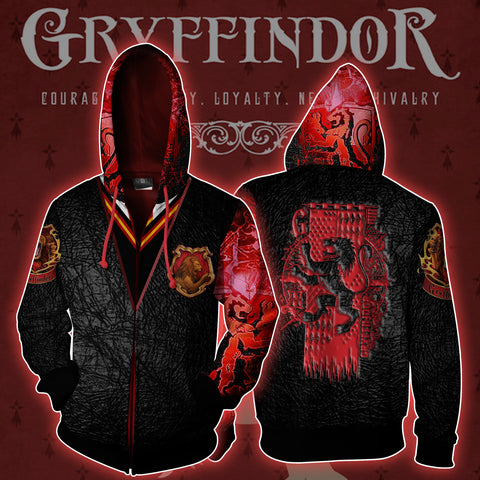 Gryffindor House Harry Potter Zip Up Hoodie