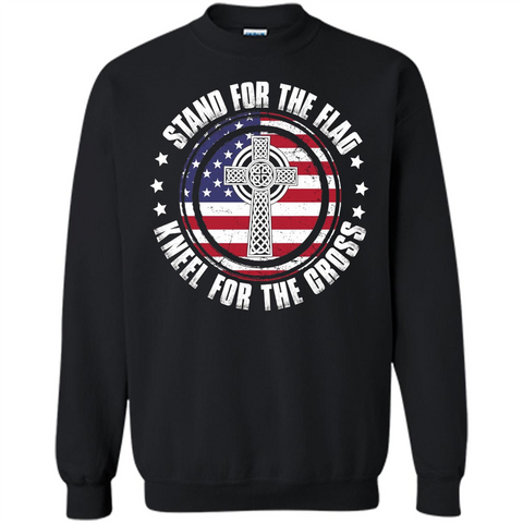 Stand For The Flag Knell For The Cross T-shirt Black / S Printed Crewneck Pullover Sweatshirt 8 oz - WackyTee