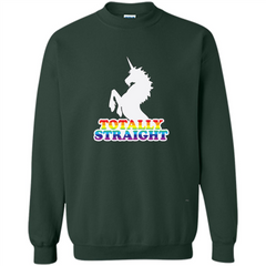 Totally Straight Unicorn T-shirt Printed Crewneck Pullover Sweatshirt 8 oz - WackyTee