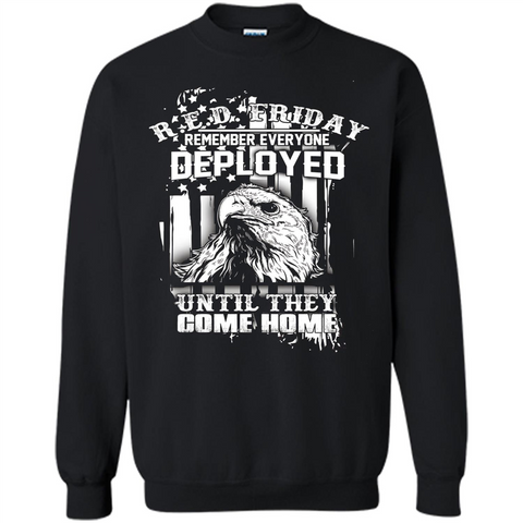 Military T-shirt Red Friday Until They Com Home Black / S Printed Crewneck Pullover Sweatshirt 8 oz - WackyTee