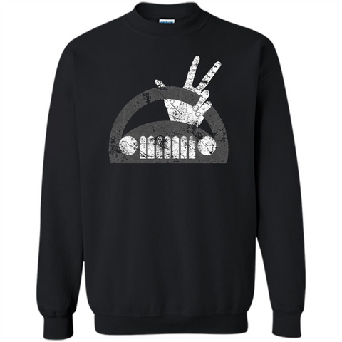 The Jeep Wave You Get It or You Don't Distressed T-Shirt Black / S Printed Crewneck Pullover Sweatshirt 8 oz - WackyTee