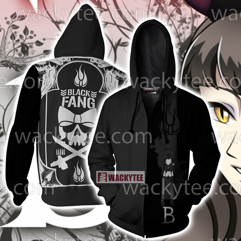 RWBY Black Fang Zip Up Hoodie US/EU XXS (ASIAN S) Fullprinted Zip Up Hoodie - WackyTee