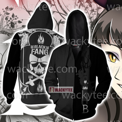 RWBY Black Fang Zip Up Hoodie Fullprinted Zip Up Hoodie - WackyTee