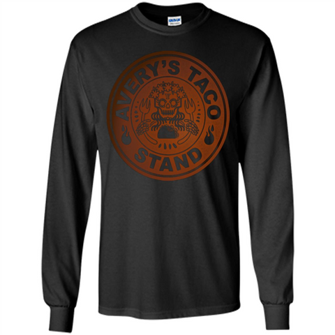 Avery's Taco Stand Bronze T-shirt Black / S LS Ultra Cotton Tshirt - WackyTee