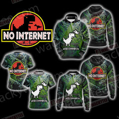 No Internet - Jurassic Park Zip Up Hoodie Fullprinted Zip Up Hoodie - WackyTee
