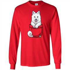 Pocket Samoyed T-shirt Cute Samoyed tshirt LS Ultra Cotton Tshirt - WackyTee