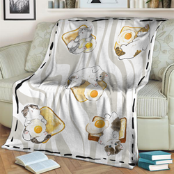 Cute Cat Fried Egg 3D Throw Blanket