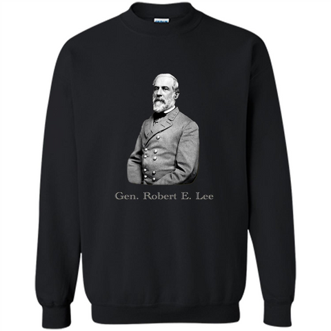 Military T-shirt General Robert E. Lee T-Shirt Black / S Printed Crewneck Pullover Sweatshirt 8 oz - WackyTee