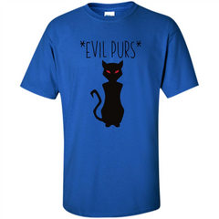 Halloween Black Cat T-shirt Evil Purs Mean Kitty Lovers Gift T-shirt Custom Ultra Cotton - WackyTee